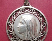 Virgin Mary Vintage French Silver Religious Medal Catholic Pendant  SS300