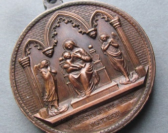 Virgin Mary Madonna With Angels Religious Medal Saint Aloysius Gonzaga Signed Penin SS539