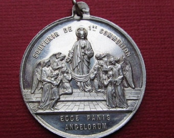 Jesus Antique French Silver Behold The Bread Of Angels Religious Medal Catholic Pendant     SS30