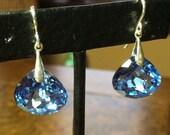 Taviz Cut Blue Topaz Earrings