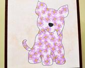 Terrier Art Block- Small Dog Art- Rustic Finish- Watercolor Flower Dogs- Home Decor- Nursery Decor- Dog Wall Art- Milk Paint