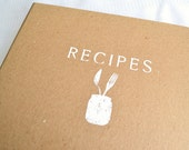 Recipe Binder -- Hand-Stenciled Cover with 24 Letter Size Recipe Cards and 8 Tabs in Trellis Design