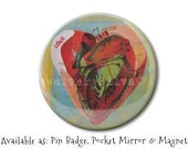 Anatomical Heart Magnet,Pin Badge, Pocket Mirror - Sacred Heart Round Magnet - Cardiology ART Pocket Mirror - Corporate Gifts