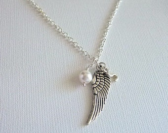 Silver Angel Wing Necklace, Personalized Jewelry, Everyday Jewelry