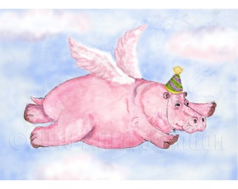 Flying Pink Hippopotamus in a Party Hat Mini Print