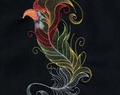 BIRDS OF A FEATHER #6 -Machine Embroidered Quilt Block AzEB