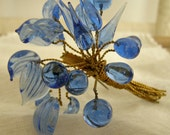 Beautiful Blue Bouquet Pin- Glass Leaves On Brass Wire-Czech Glass-SALE!