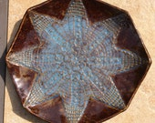 Stoneware Serving Plate, Platter, Shallow Bowl, Star Design, Lace Texture. Blue and Brown