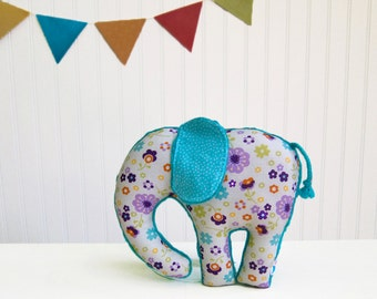 Purple Teal Plush Elephant Softie Stuffed Animal