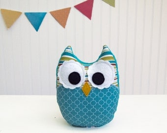 Teal Plush Owl Stuffed Toy Green Brown Nursery Decor