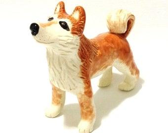 Red Shiba Inu, Ceramic Shiba Sculpture, Shiba Cake Topper Keepsake
