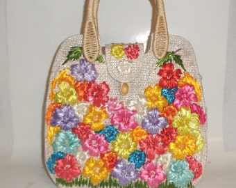 Vintage Rattan & Straw Woven Handbag by Cabana Raised Colorful Flowers Philippines Purse