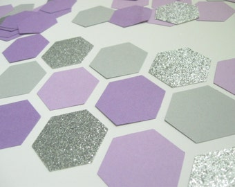 NEW - Confetti Celebration - Purple/Gray/Silver- Hexagon/Honeycomb shape- for  Parties/Showers/Weddings/Wall Art/DIY Garland/ Nursery Decor