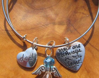 DAD - Memory Bracelet - You Are Always in my Heart -  Adjustable Bangle Bracelet - Personalize -Choose any Birthstone Angel