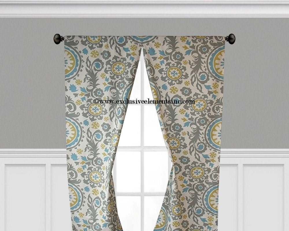Gray Blue Yellow Curtain Panels Damask Floral Curtains Home