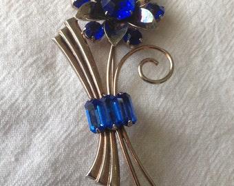 Flower Brooch Sterling Blue Rhinestones