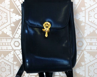 Vintage 1990s Faux Leather Mini Backpack