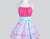 Flirty Chic Apron - Lovey Dovey Cotton Candy Pink and Soft Teal Blue Dots Flirty Cute and Sexy Retro Womens Kitchen Apron
