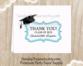 Thank You Cards / GRADUATION / Set 8 Notecards Stationery / High School College Girl Boy / in School Colors / Personalized 3 Day Ship (nc)