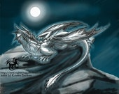 SilverMoon Nightwing: MoonLight Dragoness 11x14 Matted Art Print