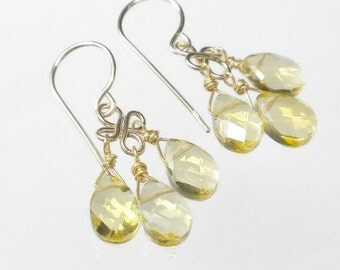 Yellow Citrine Earrings Yellow Drop Earrings Yellow Chandelier Earrings Yellow Briolette Earrings