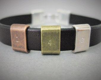 Men's Bracelet, 143, I love you, Brass, Copper, Silver, Brown Leather Bracelet, Gift for Him, Man Gift, Boyfriend, Birthday, Anniversary