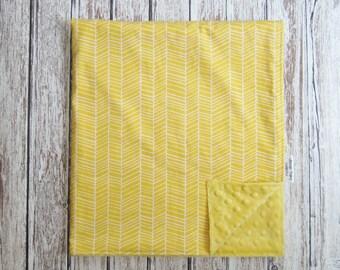 Yellow Herringbone Baby Blanket, Modern Baby Blanket, Gender Neutral Blanket, Yellow Minky Blanket