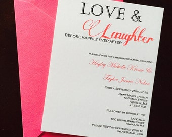 Love and Laughter rehearsal dinner invitations