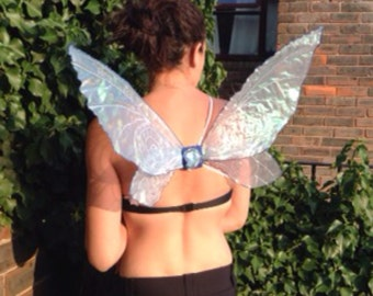 Small/Meduim baby blue Tinkerbell Wings With Stiched Swirls And Added Glitter