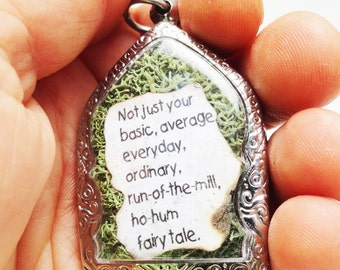 Not Just Your Average Fairy Tale, Princess Bride Quote,  Faux Stone Heart Terrarium, Locket Necklace, Mini Curio Display, Natural World