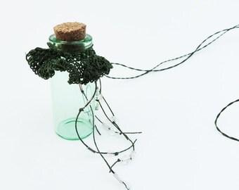 Treasure Bottle Necklace, Beachy Bridesmaid, Green Ruffled, Handwoven Empty bottle necklace TB7