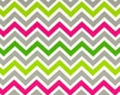 SALE - Premier Prints Fabric Zoom Zoom Chevron in Chartreuse / Candy Pink - By the Yard