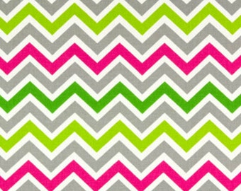 SALE - Premier Prints - Fabric Zoom Zoom Chevron in Chartreuse / Candy Pink