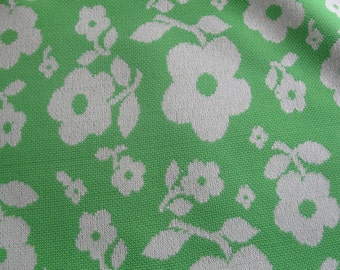 Vintage Polyester Stretchy Green White Flowers Fabric over 2 Yards