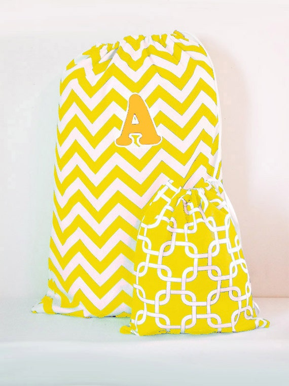 Laundry Bag - Large Laundry Bag - Matching Drawstring Mini Bag, Chevron Pattern Tote, College Laundry Tote Bag, Large Custom Personalized