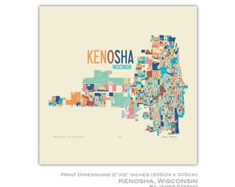Kenosha, Wisconsin 12x12 Art Map Print