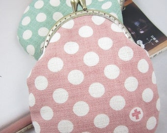 Peach and Pear Polka Dots Clasp Purse Coins Bag (Handmade)