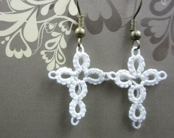 Tatting Lace Christ Cross Earrings (White) /// Handmade ///