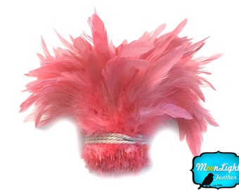 Craft Feathers, 1 Yard - CORAL Dyed Strung Rooster Schlappen Wholesale feathers (bulk) : 3849