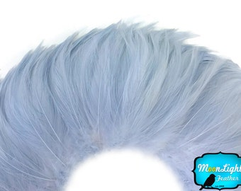Rooster Tail Feathers, 4 Inch Strip - LIGHT BLUE Strung Rooster Neck Hackle Feathers : 3907