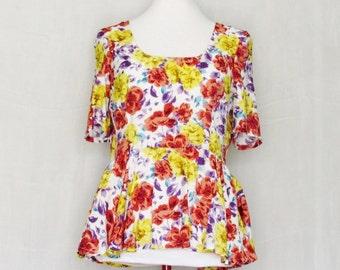 Garden Girl Peplum Top - Floral Peplum Top, Summer Floral Top, OOAK Top in Size Medium