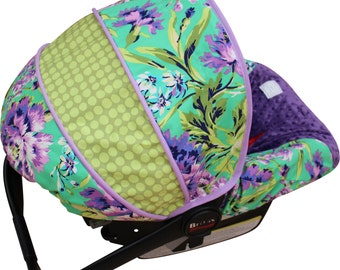 Infant Car Seat Cover Love Bliss Emerald