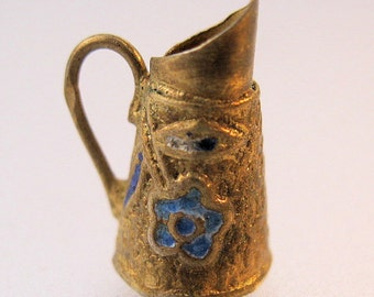 Vintage Blue Enameled Sterling Vermeil Pitcher Charm Jewelry Jewellery FREE SHIPPING