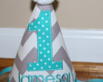 boys first birthday hat, smash cake outfit, 1st birthday party hat, gray chevron and teal blue, birthday hat,  personalized birthday hat