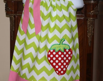 Pillowcase Dress toddler dresses personalized monogrammed strawberry applique, girls dresses by blakeandbailey