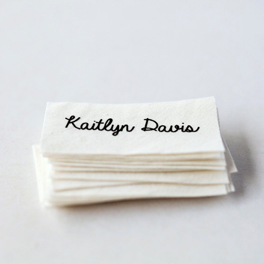 Sew on name tags / clothing labels white organic cotton