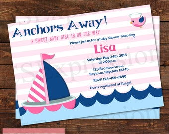 Anchors Away Baby Shower Invitation