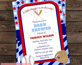 Little Slugger Baseball Baby Shower Invitation