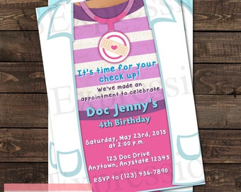 Check Up Time Doctor Coat Birthday Party Invitation