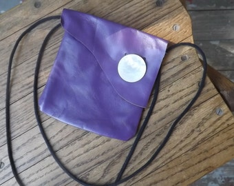 Pretty Purple Leather Bare essentials bag Leather keeps your credit cards  I.D. money safe while you are on the go.Vintage buttons